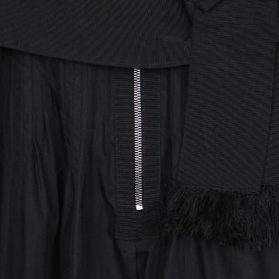 lace tiered zipper dress black